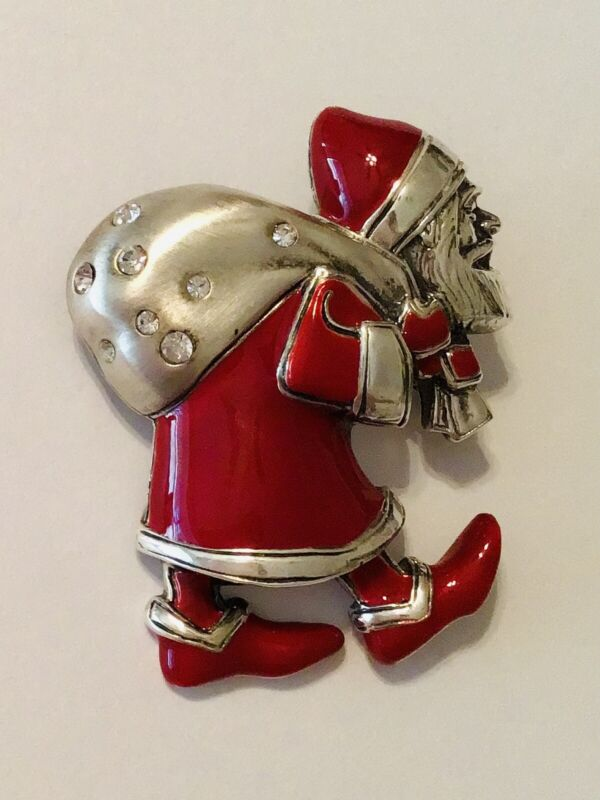 MMA Metropolitan Museum of Art Sterling Silver Red Enamel Santa Pendant Brooch