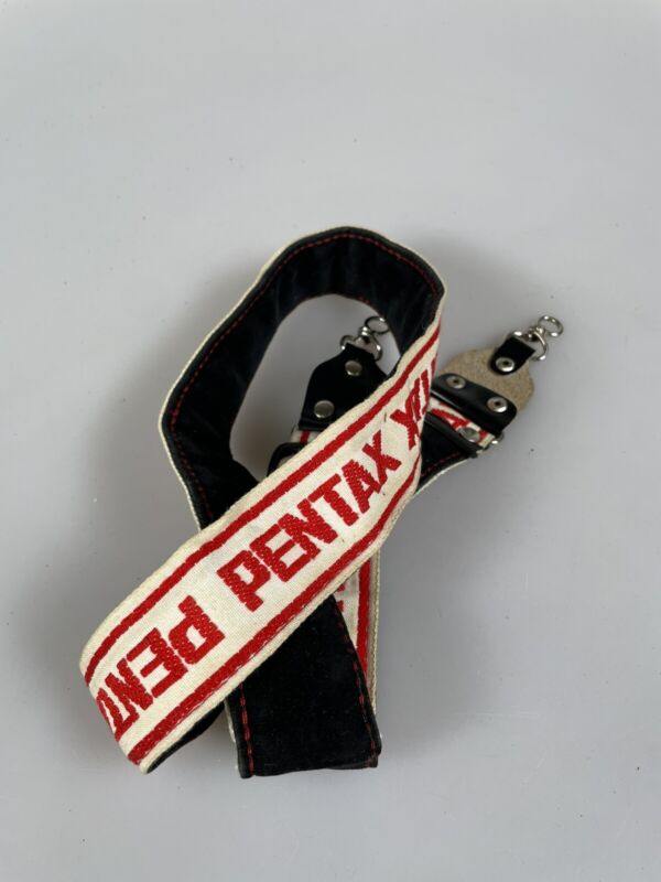 VINTAGE PENTAX CAMERA NECK STRAP White Red