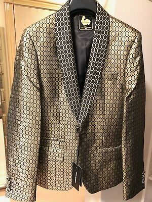 DOLCE & GABBANA MEN'S GOLD/ BLACK DIAMOND JAQUARD  SHAWL COLLAR TUX  BLAZER