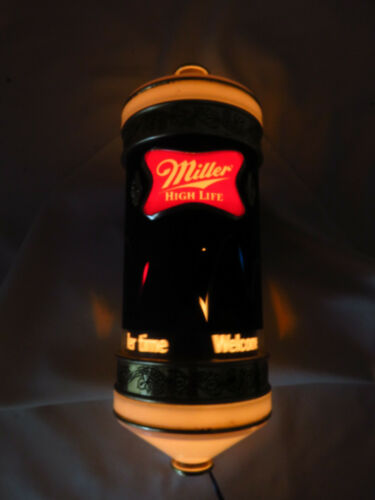 Vtg 1984 Miller High Life Beer Motion Bouncing Ball Rotating LIght Sconce Sign