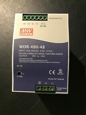 Mean Well Wdr-480-48 Power Supply 48 Vdc - 10 Amp