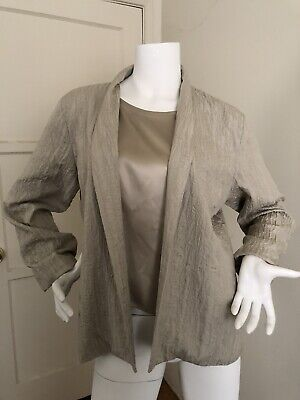 Eileen Fisher High Collar Jacket 100% Silk Quilted Pebble Gray NWT Petite L $238