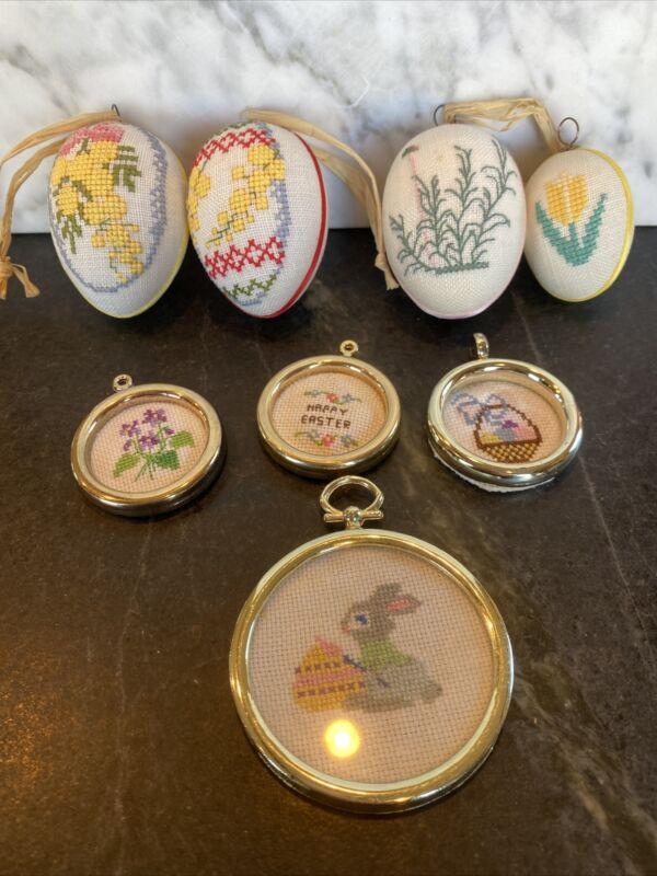 Vintage Spring Easter Egg Tree Ornaments Crosstitch Handmade Art