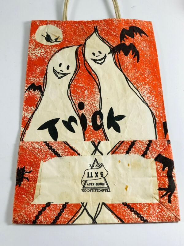 Vintage 60s 70s Halloween Trick or Treat Bag Triangle Junior-Kary covington KY