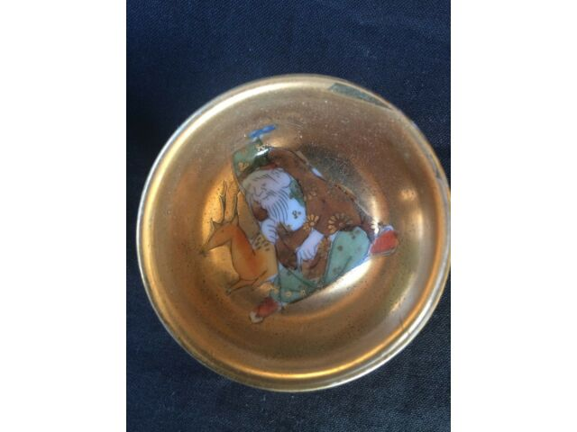 Antique Japanese sake cup Seven lucky god 6 SET hand painting
