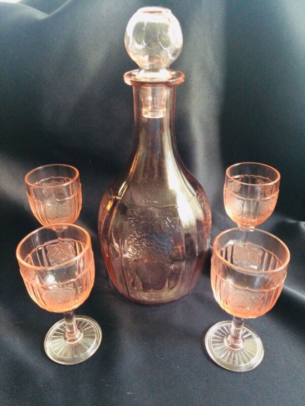 Mayfair Open Rose Decanter And Four Wines 5 Pc Lot Gorgeous And Rare!!!!