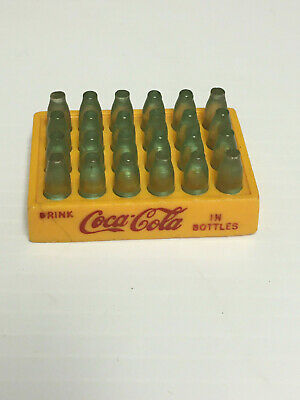 Vintage Coca Cola Mini Coke Bottles Yellow Plastic Crate Case  Toy-2