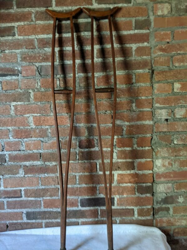 "Crutches Vintage Antique Wooden Non Adjustable Medical 50-1/2"""