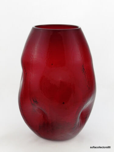 Pilgrim Glass no. 60 Ruby Crackle Free Form Dented Vase - Very early Pilgrim