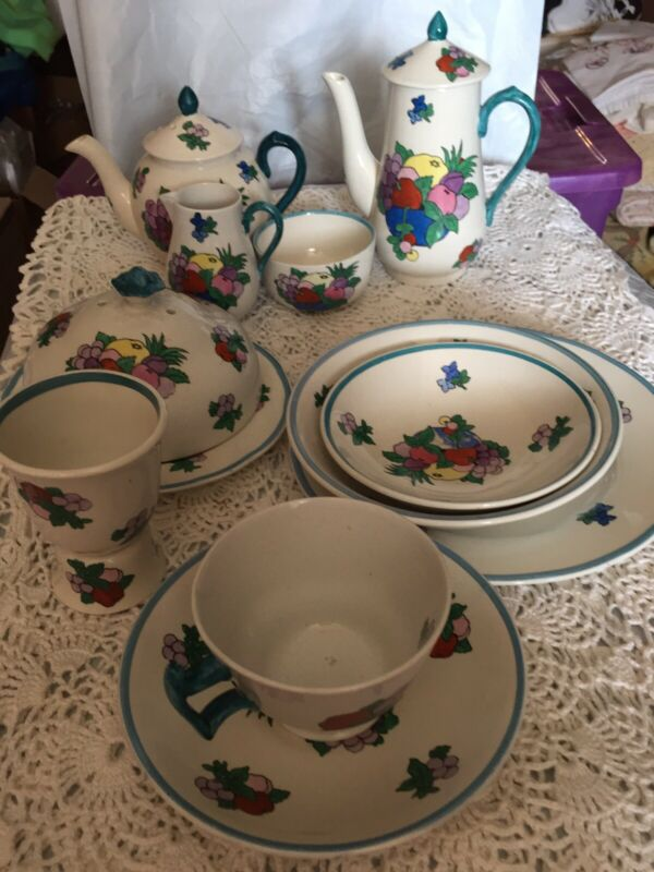 """Antique Booths Silicon China """"fruit"""" 12 Piece Breakfast Set Rono674316"""