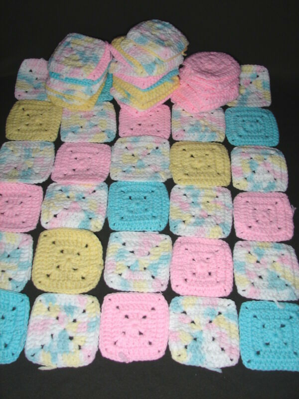 "Lot of 60+ Granny Square Afghan Blocks: 3.5"" in Pastel Baby Colors"