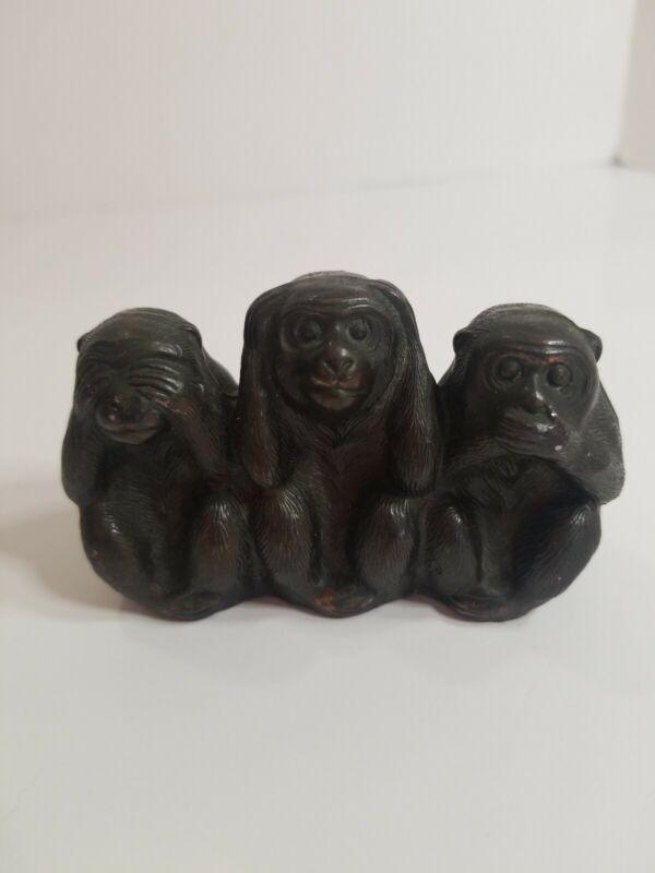 Vintage Cast Metal 3 Monkey See No Evil Hear No Evil Speak Figurine Sculpture