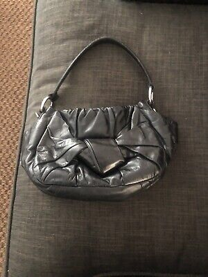 PRADA BLACK SMALL SHOULDER BAG PURSE. BOW FRONT. BEAUTIFUL LEATHER!