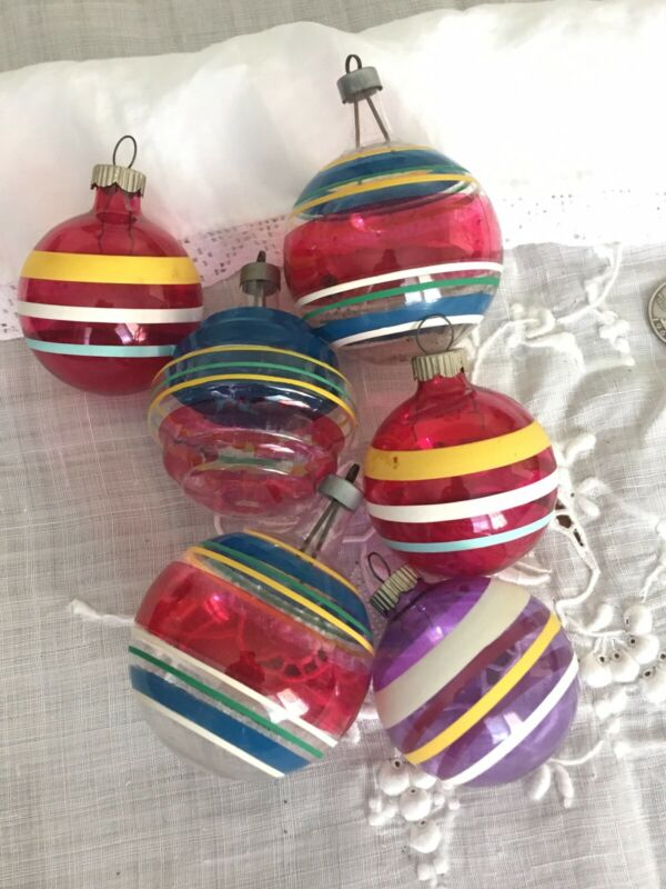 Set 6 Vintage Sheer Painted UNSILVERED Striped Christmas Ornaments