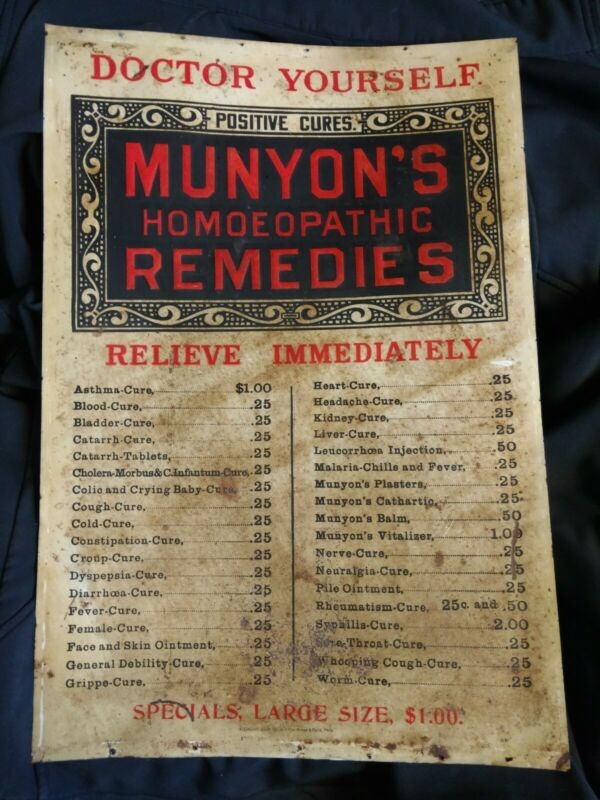 Munyon's Homeopathic Remedies Antique Metal Sign