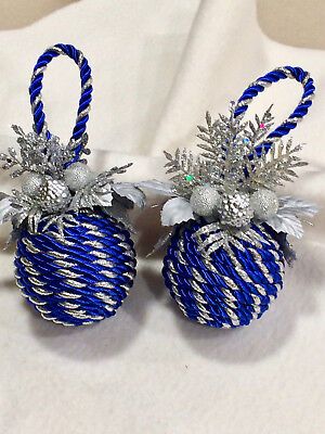 Blue And Silver Christmas Ornaments (Royal Blue and Silver - Floral/Corded Christmas Ornaments - Set of)