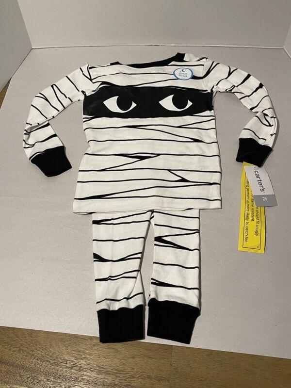 NWT~Toddler Boys Pajamas Halloween Mummy Glow in the Dark~Size 2 T~Carters