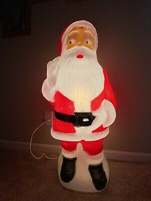 Vintage Santa Clause Blow Mold Made in Canada Light Works Christmas Decor 34 in
