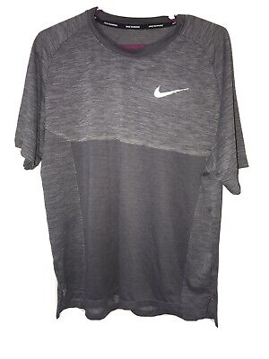 Mens Nike Pro Compression Grey Dri-Fit Gym Training Short Sleeve Top Size L BNWT