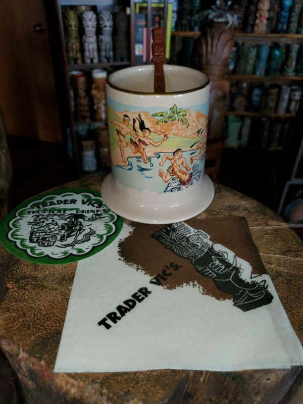 Trader Vics Honi Honi Tiki Mug Sold out & napkin, coaster and stirring stick