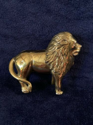Vintage Heavy Solid Brass Lion Money Coin Bank With Tail to Right