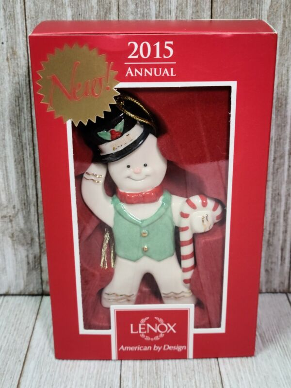 Lenox Christmas Annual 2015 Ginger Gent with Candy Cane Ornament Snowman in box