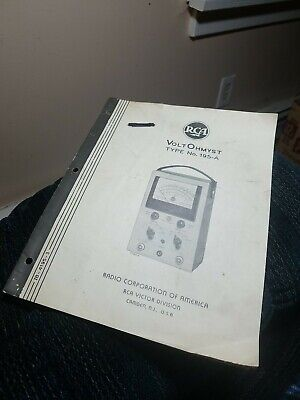 Vintage Rca Voltohmyst Type 195a - Manual Only