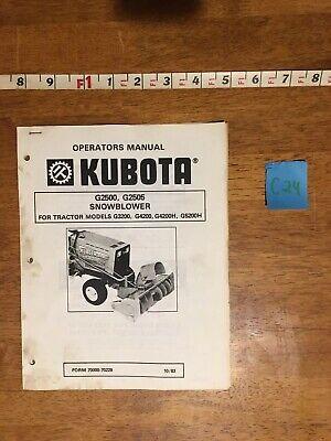 Kubota G2500 G2505 Snowblower Operators Manual - 23 Pages