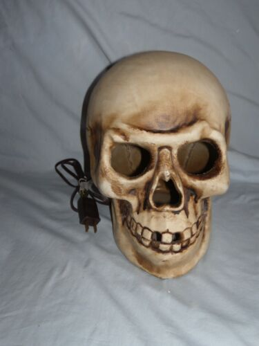 """Large Halloween Skull With Red Light Up Eyes (10"""" x 9"""")"""