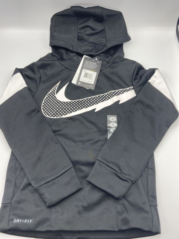 Nike Therma Dri Fit Fleece Lined Hoodie Size 5  Boys - Black and White - New!