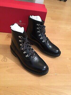 Grenson Justin Black Leather Commando Sole Boot Uk 8, RRP£295