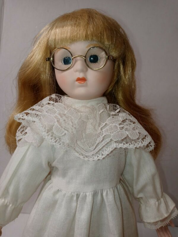 """Victorian 15"""" Porcelain Ruffles Blonde Glasses Collectible Gift Pretty, stand"""