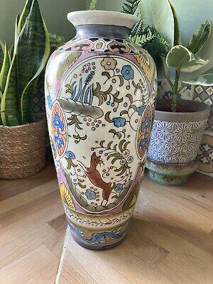 Great condition Ceramic Pueblo Blue Pink Southwestern Vase with Gold Accents Double Spout 5.5\u201d by 3.5\u201d