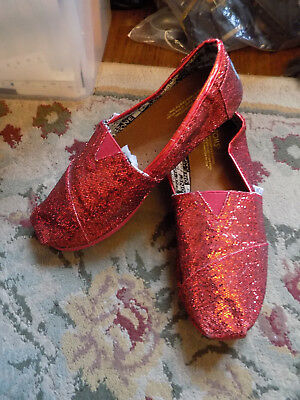 Toms Girls Shoes Sz 3 Womens 5 Shiny Dorothy Red Sparkle VGUC Clean & so CUTE!
