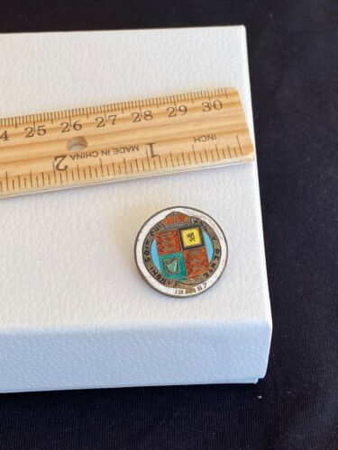 1887 British 1 One Shilling Queen Victoria Enamel Silver Coin Made Pin Brooch
