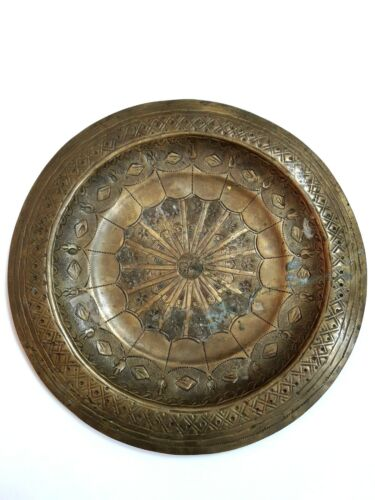 Vintage moroccan engraved brass wall hanging plate.Handmade.