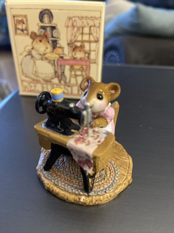 Wee Forest Folk M-040 Miss Bobbins Pink Mouse At Sewing Machine 1979