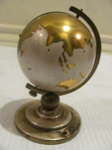 RARE VINTAGE EUROPA GILT BRASS GLOBE DESK CLOCK WITH ALARM & PICTURE FRAME