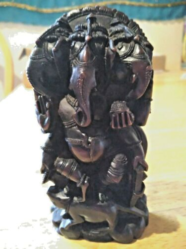 """❤️ GORGEOUS TEAKWOOD CARVED GANESH STATUE 6"""" x 3"""" INDIA REMOVER OF OBSTACLES 🐘"""