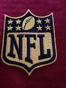 NFL Logo 50th Ann. Gold Patch Shield Crest Badge Iron On Sew On Shirt Jacket Bag