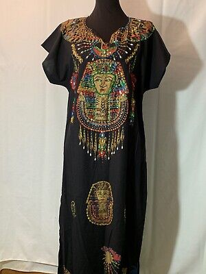 Cleopatra Egyptian Pharaoh M/L Dress Costume Authentic Sequins Pearls Pyramid