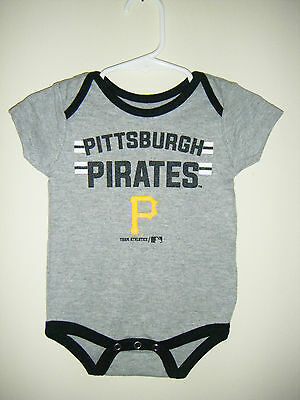 MLB Pittsburgh Pirates Bucs Baseball Infant Baby Body Snap Suit 0/3 Months Gray Baseball Infant Bodysuit