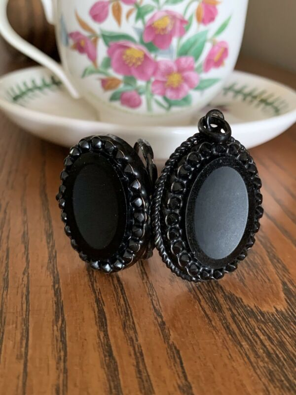 XL Black FRENCH Jet Victorian Beaded Oval LOCKET Pendant Black Mourning Necklace