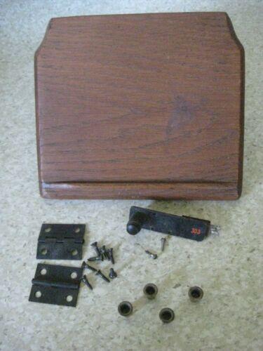 Antique Crank Wall Phone Parts Oak Platform Hinges Button Mounting Grommets