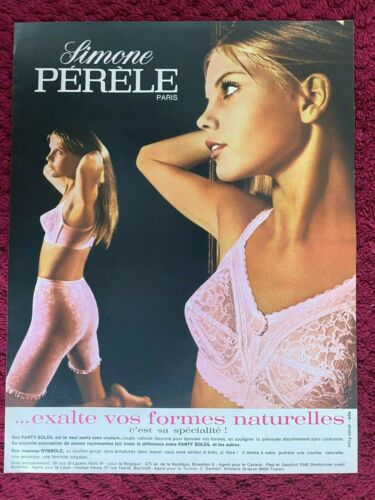 1969 SIMONE PERELE PARIS  : BRA & GIRDLE   French Magazine PRINT AD