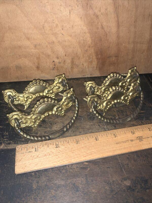 Antique Vintage Brass Metal Dresser Drawer Pulls - Set of 4. Intricate design