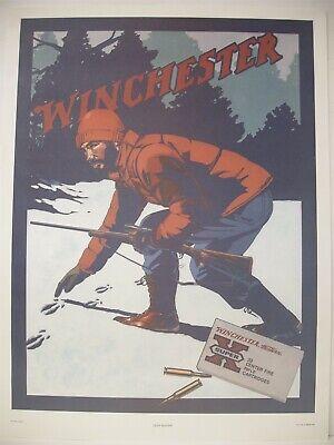 VINTAGE Winchester 1981 Deer Hunter Paper Poster Advertising Sign Nancy Stahl