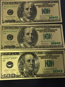 Novelty prop gold plated $100 USD bill