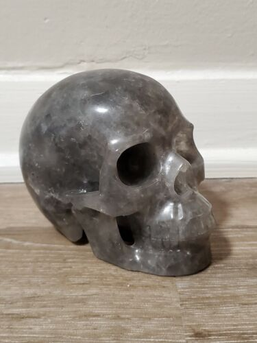 Gray Quartz Huge Carved Crystal Skull Realistic Healing