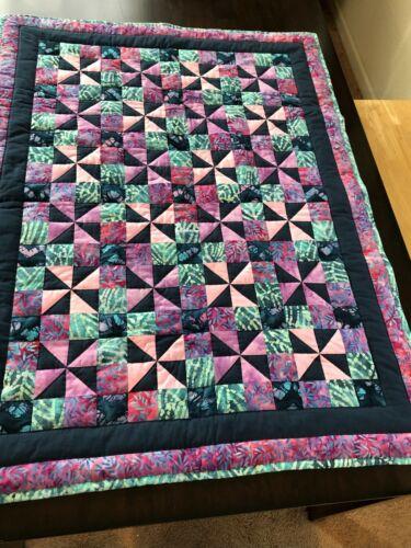 Patchwork Quilt, handmade, baby or crib size, cotton batik fabrics Calico Puzzle